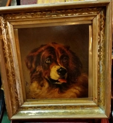 36-SMALL FRAMED OIL PAINTING OF A DOGS HEAD.jpg