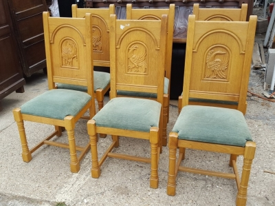 16D15061 SET OF 6 OAK CHAIRS WITH CARVED BIRD BACKS (1).jpg