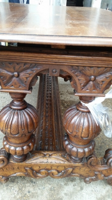 16E08001 HUGE AS IS DOLPHIN CARVED LIBRARY TABLE (3).jpg