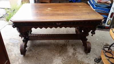 16E08001 HUGE AS IS DOLPHIN CARVED LIBRARY TABLE (4).jpg