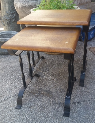 16E08008 PAIR OAK AND IRON STACK TABLES.jpg