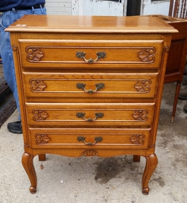 16E08022 4 DRAWER COUNTRY FRENCH SHALLOW CHEST OF DRAWERS (1).jpg