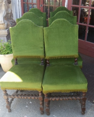 16E08027 SET OF 6 BARLEY TWIST GREEN CHAIRS .jpg