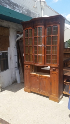 AS IS TALL STAINED GLASS SHALLOW CABINET  (3).jpg