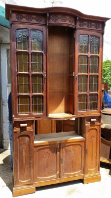 AS IS TALL STAINED GLASS SHALLOW CABINET  (5).jpg