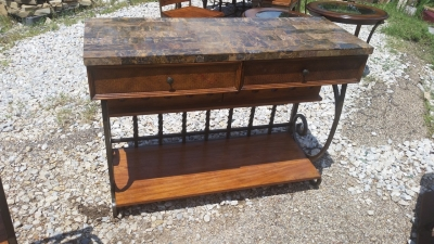 16E09201 STONE TOP IRON CONSOLE WITH WINE RACK  (1).jpg