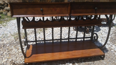 16E09201 STONE TOP IRON CONSOLE WITH WINE RACK  (2).jpg
