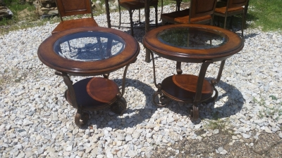 16E09202 PAIR OF ROUND WOOD, IRON AND GLASS TABLES .jpg