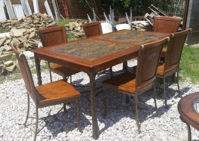 16E09203 TWIST IRON, WOOD AND STONE TABLE WITH 6 CHAIRS (1).jpg