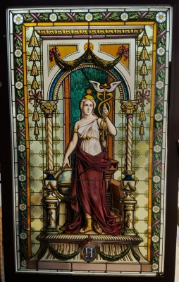 16E20028 LARGE PAINTED LADY STAINED GLASS WINDOW (1).jpg