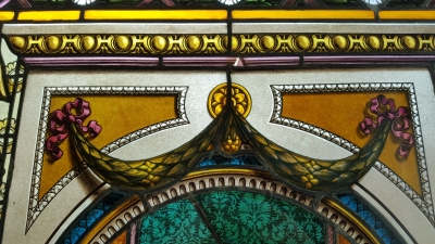 16E20028 LARGE PAINTED LADY STAINED GLASS WINDOW (4).jpg