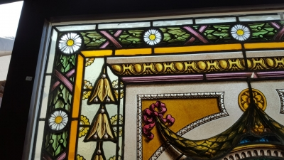 16E20028 LARGE PAINTED LADY STAINED GLASS WINDOW (5).jpg