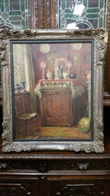 16E20023 FRAMED INTERIOR WITH RELIGIOUS ALTER OIL PAINTING (1).jpg