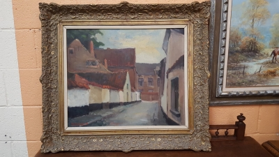 16E20 FRAMED VILLAGE OIL PAINTING (1).jpg