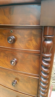 16f01527 Tall Mahogany Chest on legs Twist columns (3).jpg