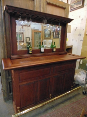 36 BACK BAR WITH BRASS RAIL NOT OLD BUT GOOD LOOKING (1).JPG