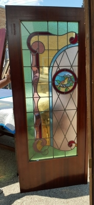 16G01031 PAIR STAINED GLASS DOORS WITH BIRDS (4).jpg