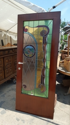 16G01031 PAIR STAINED GLASS DOORS WITH BIRDS (6).jpg