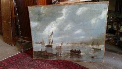 16G01049 SEA HARBOR PAINTING WITH GOLD FRAME (2).jpg