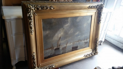 16G01049 SEA HARBOR PAINTING WITH GOLD FRAME (4).jpg