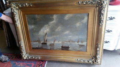 16G01049 SEA HARBOR PAINTING WITH GOLD FRAME (5).jpg