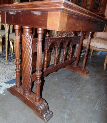 13K07004 MARBLE TOP FRENCH WALNUT LIBRARY TABLE (1).JPG