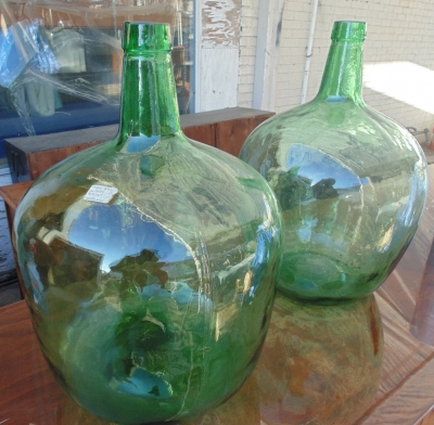 14A01005 AND006 LARGE GREEN BOTTLES WITH WOOD MOLD MARKS (1).JPG