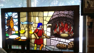 11B09003 HUGE FRAMED BAKERY STAINED GLASS .jpg