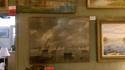 16G01049 UNFRAMED HARBOR OIL PAINTING.jpg