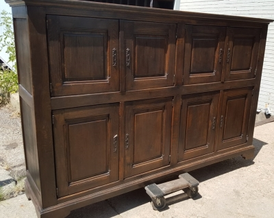 16H07003 DARK OAK RUSTIC LONG CABINET WITH SQUARE PANELS (4).jpg