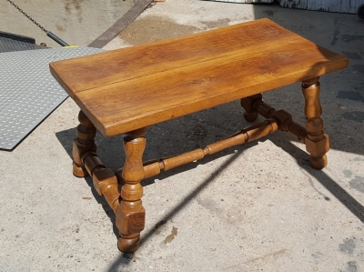 16H07019 RUSTIC OAK TRESTLE BENCH-AS IS STRETCHER (1).jpg