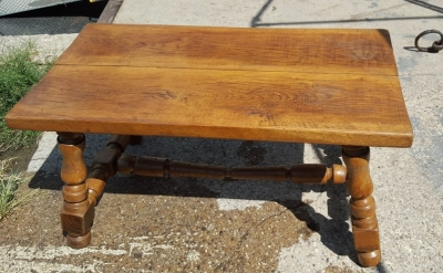 16H07019 RUSTIC OAK TRESTLE BENCH-AS IS STRETCHER (4).jpg