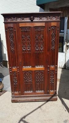 16H07033 GOTHIC SINGLE DOOR OAK HALL WARDROBE (4).jpg