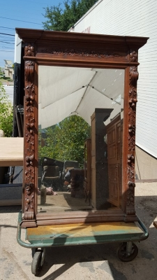 16H07040 CARVED OAK LARGE MIRROR W NUTS (4).jpg