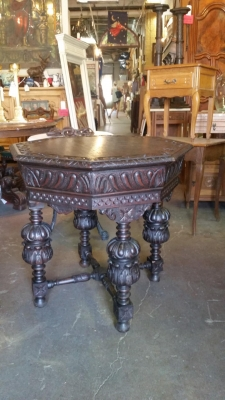 16H07014 DARK OAK CARVED OCTAGON TABLE (1).jpg