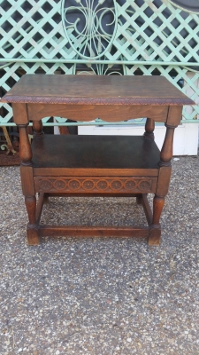 16H07039 CARVED OAK STAND WITH DRAWER.jpg