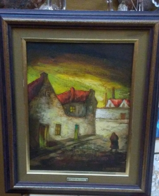 16H17014 SIGNED VILLAGE OIL PAINTING (3).jpg
