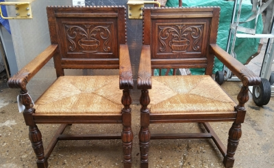 16H17029 PAIR OF ACANTHUS CUP CARVED OAK ARM CHAIRS (1).jpg