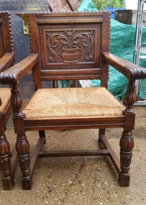 16H17029 PAIR OF ACANTHUS CUP CARVED OAK ARM CHAIRS (2).jpg