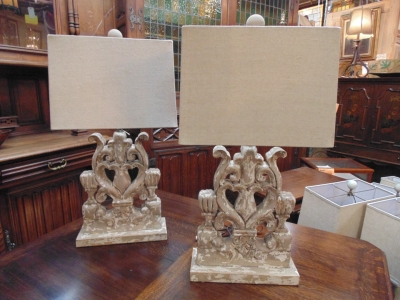 13L23574 PAIR EXTRA LARGE FRET CARVED LAMPS (2).JPG