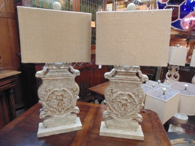 13L23579 PAIR SOLID CARVED WOOD LAMPS (2).JPG