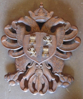 SOLD! SORRY!   14D22010 CARVED CREST WITH SWORDS CROSSED