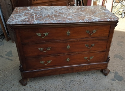 16I03031 MAHOGANY MARBLE TOP CHEST WITH CLAW FEET.jpg