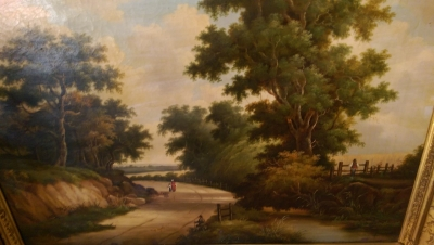 16I08200 LARGE LANDSCAPE WITH ROAD FRAMED OIL PAINTING (2).jpg