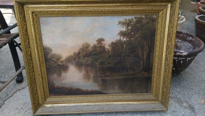 16I08208 LARGE FRAMED OIL PAINTING OF RIVER AND TREES (1).jpg