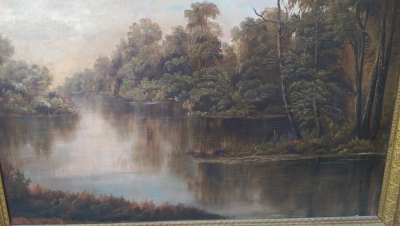 16I08208 LARGE FRAMED OIL PAINTING OF RIVER AND TREES (2).jpg