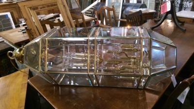 16I13502 BRASS AND GLASS LANTERN.jpg
