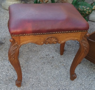 16J05010 LARGE OAK COUNTRY FRENCH STOOL W RED LEATHER .jpg
