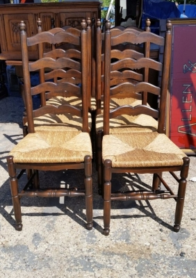 16J05014 SET OF 6 RUSH SEAT DARK OAK LADDER BACK CHAIRS.jpg