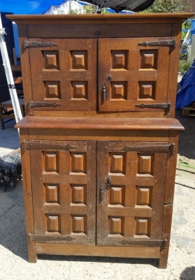 16J05019 SMALL RUSTIC STEP-BACK CABINET WITH PANELS (1).jpg